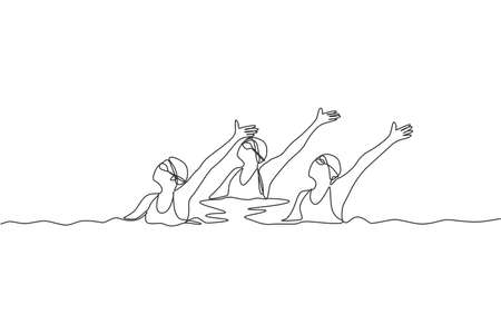 Single continuous line drawing of young sportive women perform beautiful synchronized swimming choreography. Group water sport competition concept. Trendy one line draw design vector illustration Çizim