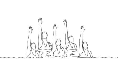 Single continuous line drawing young sportive women perform beautiful synchronized swimming choreography. Group water sport competition concept. Trendy one line draw design vector graphic illustration Çizim
