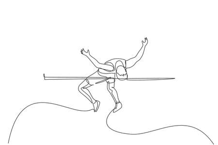 One continuous line drawing of young sporty man practicing pass through the bar in high jump game. Healthy athletic sport concept. Championship event. Single line draw design vector illustration Ilustração