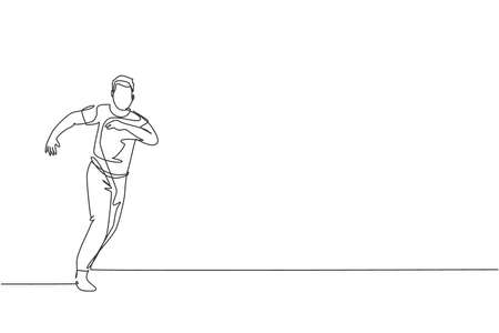 Single continuous line drawing of young sportive man practice Brazilian capoeira move dance at outdoor street. Culture martial art and sport concept. Trendy one line draw design vector illustration
