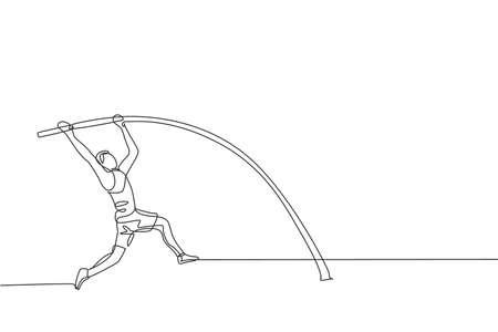 One continuous line drawing of young sporty man practicing pole vault stance jump in the field. Healthy athletic sport concept. Championship event. Dynamic single line draw design vector illustration