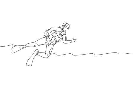 One single line drawing of young energetic man swimming on sea ocean to see fish, coral reef and underwater life vector illustration. Health lifestyle sport concept. Modern continuous line draw design Çizim