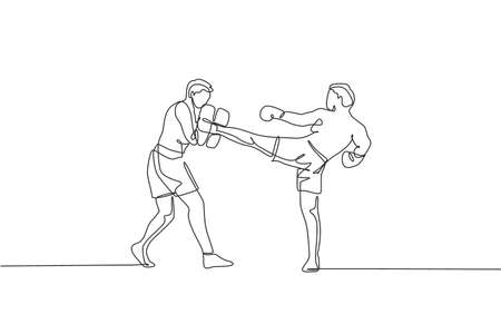 Single continuous line drawing of young sportive man kickboxer exercise with personal trainer in sport hall. Fight competition kickboxing sport concept. Trendy one line draw design vector illustration