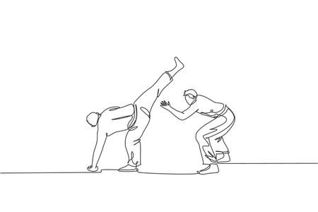 One continuous line drawing of two young sporty Brazilian fighter men training capoeira on the beach. Healthy traditional fighting sport concept. Dynamic single line draw design vector illustration