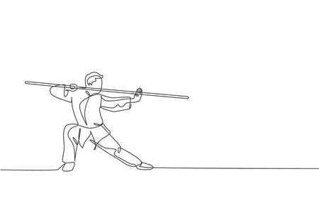 One continuous line drawing of young wushu master man, kung fu warrior in kimono with long staff on training. Martial art sport contest concept. Dynamic single line draw design vector illustration
