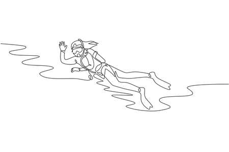 One single line drawing of young energetic woman waving her hand  while scuba diving to explore fish life on sea ocean vector illustration. Healthy sport concept. Modern continuous line draw design
