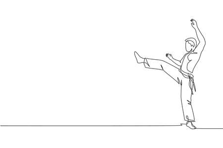 One single line drawing of young energetic man capoeira dancer perform dancing fight vector graphic illustration. Traditional martial art lifestyle sport concept. Modern continuous line draw design