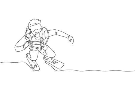 Single continuous line drawing of young sportive man pose at sea ocean while scuba diving to see coral reefs and sea life. Underwater sport concept. Trendy one line draw design vector illustration Çizim