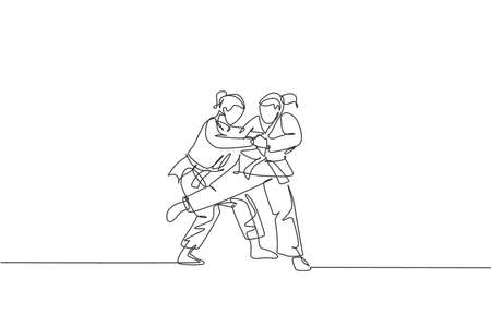 One continuous line drawing two young sporty women training judo technique at sports hall. Jiu jitsu battle fight sport competition concept. Dynamic single line draw design vector graphic illustration Vektorgrafik
