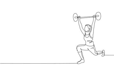 One single line drawing of young energetic woman exercise lifting barbell in gym fitness center graphic vector illustration. Healthy lifestyle sport concept. Modern continuous line draw design