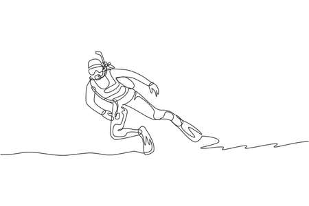 Single continuous line drawing young sportive man do scuba diving into the deep sea ocean to explore sea life world. Underwater sport concept. Trendy one line draw design vector graphic illustration