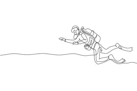One single line drawing young energetic man do scuba diving at sea ocean to see underwater life world vector illustration graphic. Healthy lifestyle sport concept. Modern continuous line draw design