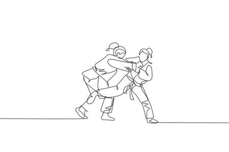 One continuous line drawing two young sporty women training judo technique at sports hall. Jiu jitsu battle fight sport competition concept. Dynamic single line draw design vector graphic illustration