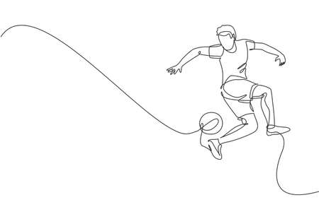 One continuous line drawing of young sporty man soccer freestyler player practice to juggle ball with heel in the street. Football freestyle sport concept. Single line draw design vector illustration