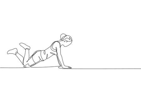 One single line drawing of young energetic woman exercise pilates push up pose in gym fitness center vector illustration graphic. Healthy lifestyle sport concept. Modern continuous line draw design