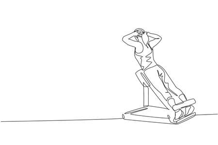 One continuous line drawing of young sporty woman working out with bench press in fitness gym club center. Healthy fitness sport concept. Dynamic single line draw design graphic vector illustration