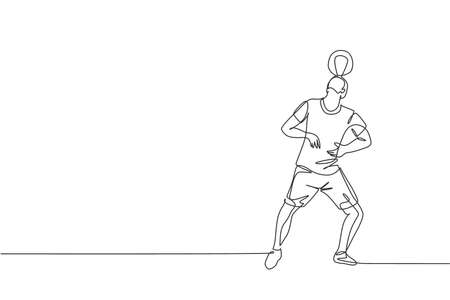 One single line drawing of young happy man perform soccer freestyle, keep the ball on head at the city square vector illustration. Football freestyler sport concept. Modern continuous line draw design