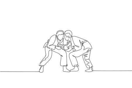 Single continuous line drawing of two young sportive judoka fighter men practice judo skill at dojo gym center. Fighting jujitsu, aikido sport concept. Trendy one line draw design vector illustration