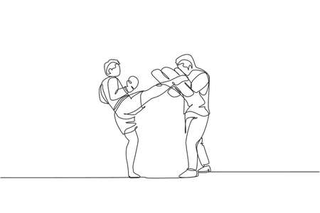 Single continuous line drawing of young sportive man kickboxer exercise with personal trainer and punch bag in sport hall. Fight kickboxing sport concept. One line draw design vector illustration