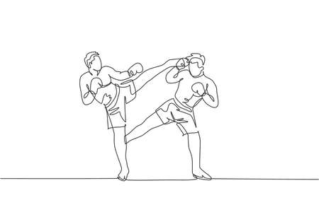 One single line drawing of young energetic man kickboxer practice sparring combat with partner in boxing arena vector illustration. Healthy lifestyle sport concept. Modern continuous line draw design