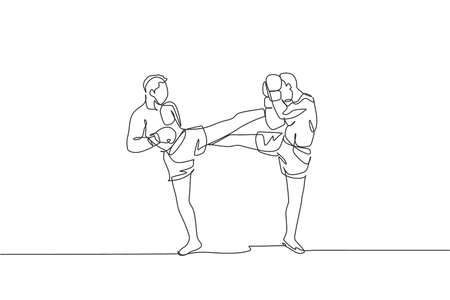 One continuous line drawing of young sporty man kickboxer athlete fight seriously at the national competition. Combative kickboxing sport concept. Dynamic single line draw design vector illustration 矢量图像