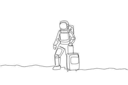 Single continuous line drawing of young astronaut carrying luggage bag want to travel in moon surface. Space man cosmic galaxy concept. Trendy one line draw design graphic vector illustration