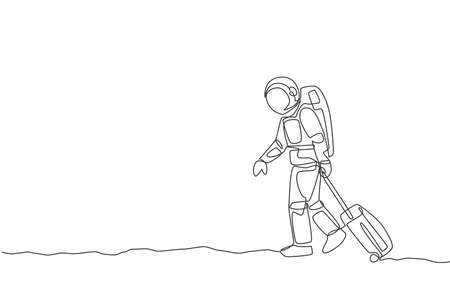 Single continuous line drawing young astronaut pulling suitcase while walking out from airport in moon surface. Space man cosmic galaxy concept. Trendy one line draw design graphic vector illustration
