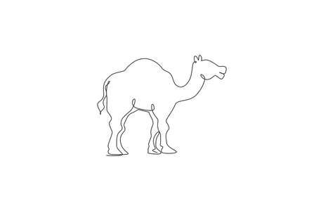 One continuous line drawing of cute Arabian camel. Wild animal national park conservation. Safari zoo concept. Dynamic single line draw design vector illustration graphic