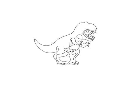 Single continuous line drawing of scary tyrannosaurus rex dinosaurs. Prehistoric museum logo concept. Trendy one line draw design graphic vector illustration Ilustração
