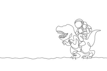 Single continuous line drawing of cosmonaut with spacesuit riding t-rex, wild animal in moon surface. Fantasy astronaut safari journey concept. Trendy one line draw design graphic vector illustration