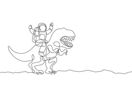Single continuous line drawing of cosmonaut with spacesuit riding tyrannosaurus, wild animal in moon surface. Fantasy astronaut safari journey concept. Trendy one line draw design vector illustration