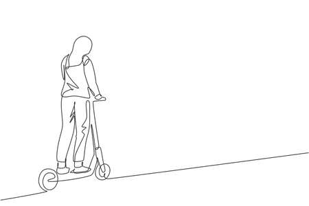 Single continuous line drawing of young happy woman riding electric scooter at public area. Eco friendly transportation. Urban lifestyle concept. Trendy one line draw design vector illustration