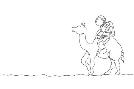 One single line drawing of astronaut riding Arabian camel, pet animal in moon surface vector illustration. Cosmonaut safari journey concept. Modern continuous line graphic draw design