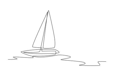 One single line drawing of sail boat sailing on the sea vector illustration. Water transportation vehicle concept. Modern continuous line draw graphic design
