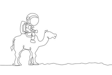 Single continuous line drawing of cosmonaut with spacesuit riding desert camel, farm animal in moon surface. Fantasy astronaut safari journey concept. Trendy one line draw design vector illustration
