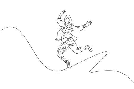 One continuous line drawing of young sporty break dancer man show hip hop jumping dance style in the street. Urban lifestyle sport concept. Dynamic single line draw design vector graphic illustration
