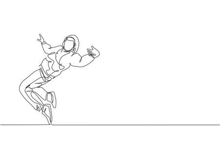 Single continuous line drawing of young energetic hip-hop dancer man on hoodie practice break dancing on street. Urban generation lifestyle concept. Trendy one line draw design vector illustration