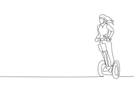 One single line drawing of young energetic woman riding electric kick scooter at city park vector illustration. Future transport. Healthy lifestyle sport concept. Modern continuous line draw design