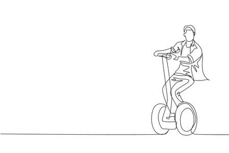Single continuous line drawing of young happy man riding electric kick scooter at public area. Eco friendly transportation. Urban lifestyle concept. Trendy one line draw design vector illustration