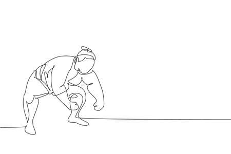 One single line drawing of young overweight Japanese sumo man ready to fight at arena competition vector illustration. Traditional rikishi combative sport concept. Modern continuous line draw design