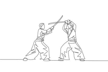 One continuous line drawing of young man aikido fighter practice using wooden sword at dojo training center. Martial art combative sport concept. Dynamic single line draw design vector illustration