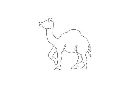 Single continuous line drawing of wild Arabian camel. Endangered animal national park conservation. Safari zoo concept. Trendy one line draw design vector graphic illustration 向量圖像
