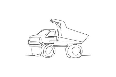 One single line drawing of big mining dump truck to load coal and mining products vector illustration. Heavy transportation vehicle concept. Modern continuous line draw design graphic  イラスト・ベクター素材