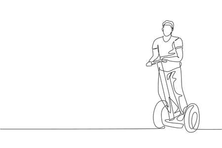 Single continuous line drawing young happy man riding kick scooter at public area. Green eco friendly transportation. Urban lifestyle concept. Trendy one line draw design graphic vector illustration