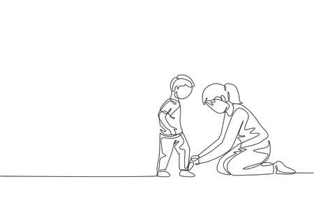 One continuous line drawing young happy mom at home tying her son shoelaces before going to school in the morning. Family parenting concept. Dynamic single line draw design vector illustration graphic