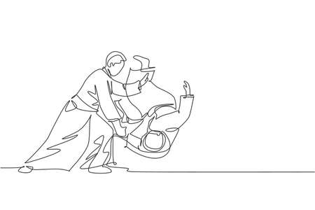 One continuous line drawing of two young man aikido fighter practice throw technique at dojo training center. Martial art combative sport concept. Dynamic single line draw design vector illustration