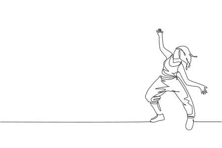 One single line drawing of young modern street dancer woman performing hip hop dance on the stage graphic vector illustration. Urban generation lifestyle concept. Continuous line draw design