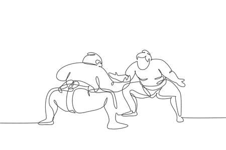 Single continuous line drawing two young big fat Japanese sumo men training fight at arena gym center. Traditional festival martial art concept. Trendy one line draw design graphic vector illustration Illustration