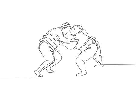 One single line drawing of two young overweight Japanese sumo man fighting at arena competition vector illustration. Traditional rikishi combative sport concept. Modern continuous line draw design