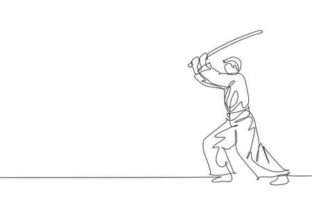 One continuous line drawing of young man aikido fighter practice fighting with wooden sword at dojo training center. Martial art combative sport concept. Single line draw design vector illustration
